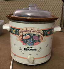 "Vintage Rival Crock Pot Slow Cooker ""A Garden of Good Things"" 3.5 QUART"
