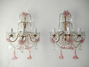 ~c 1920 French Pink Fuchsia Murano Flowers & Crystal Prisms Sconces~