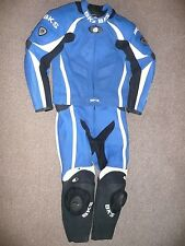 MENS BKS UK40 EU50 BLUE SILVERSTONE MOTORCYCLE TWO 2 PIECE LEATHER SUIT