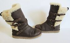 Ugg Australia Glasgow Girls Brown Leather Shearling Buckle Boots 3