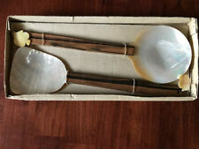 Mother of pearl and wood handle salad server set Condition: Brand New