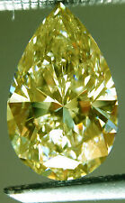 5.96 ct vvs1/OFF WHITE YELLOW LOOSE PEAR REAL MOISSANITE 4 RING/PENDANT