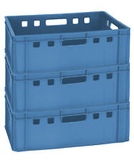 3 Stück Universal Kiste Kunststoff Blau 60 x 40 x 20 cm stapelbar Gastlando