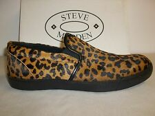 Steve Madden Size 8 M Gunman Leopard Leather Slip On Loafers New Mens Shoes