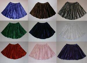 Crushed Velvet Full Circle Elasticated Waist Skater Skirt Dance Baton 9 Colours