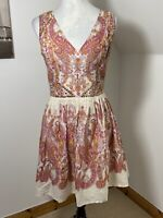 Oasis Size 10 Summer Cotton Fit & Flare Skater Dress Cream Pink Red Paisley