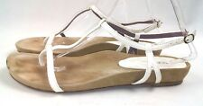TARYN by Taryn Rose Sz 11 White Patent Leather Thong Ankle Strap Women's Sandals