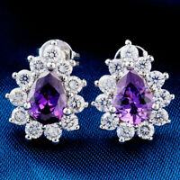 4Ct Pear Shape Amethyst  & Round Women's Halo Stud Earrings 14K White Gold Over