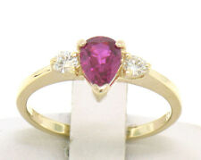 FINE 14k Solid Gold Pear Blood Red Ruby & Round Diamond Ladies Solitaire Ring