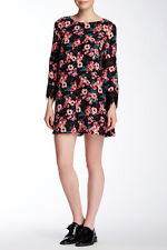 Everleigh Black Multi Floral Long Sleeve Lace Trim Dress - Size Large NWT