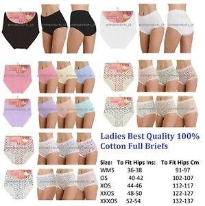 3 x Ladies Women 100% Cotton Full Size Briefs Knickers Underwear UK Size 8 - 22
