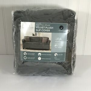 """Velvet Plush Slip Cover For Sofa Couch One Piece Stretch- Dark Grey Up To 90"""""""