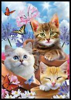 Kittens and Flower - Chart Counted Cross Stitch Pattern Needlework Xstitch Craft
