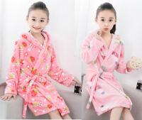 Kids Girls Flannel Soft Warm Sleepwear Nightwear long Bathrobe Homewear Pajamas