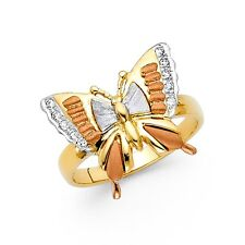 Butterfly Ring CZ Solid 14k Yellow White Rose Gold Band Stylish Satin & Polished