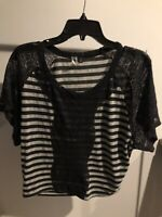 BKE Womens Top Shirt Rayon Blend With Black Lace Black Stripes Size S Cropped