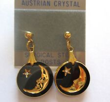 Fashion Earrings- Moon & Stars -round- black & gold color - crystal- post back