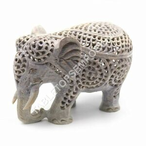 """5"""" Marble Natural Soap Stone Trunk Up Elephant Sculpture Halloween Gift Décor"""