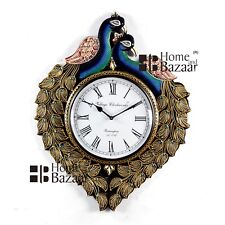 Traditional Rajasthani Hand Painted Wooden Peacock Shape Wall Clock - 461