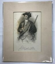 George Washington 1855 Etching Print From 1772 Portrait By Charles Willson Peale