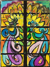 BIRDS AND FLOWERS DESIGN FOR STAINED WINDOWS drawing by u/k Russian artist