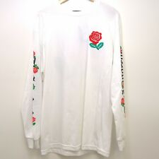 New PacSun LA Mens White Rose Embroidery Crewneck Long Sleeve Tee T-Shirt Large