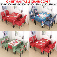 Christmas Santa Stretch Table Chair Seat Covers Xmas Party Decor Dinner Room .-