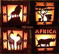 Laser cut tea light holder light box African animals unique gift handmade