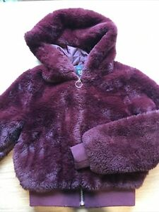 Girls Burgundy Faux Fur Hooded Jacket Coat Age 9 Years From New Look