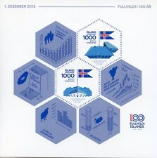 Iceland 2018 MNH Independence & Sovereignty 100th Anniv 2v S/A M/S Flags Stamps
