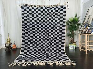 Moroccan Handmade Beni Ourain Wool Rug 5'3x7'8ft Checkered Berber Gray Black Rug