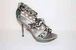ERROL FRENDZ Brand Silver Satin Beaded Sandals Heels Shoes Size 9 NEW
