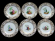 6 ROYAL VIENNA AUGARTEN WIEN RETICULATED HAND PAINTED VICTORIAN PEOPLE PLATES