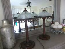 """pair TABLE LAMPS vintage inspired glass shades fancy metal trim 20.5"""" tall"""