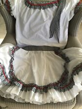 Square Dancing Outfit w/Matching Men's Neckerchief - Red White Black - Size L