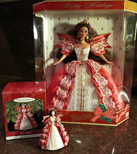 1997 Mattel Holiday Barbie Doll and matchin 00006000 g Hallmark Ornament set - Nib