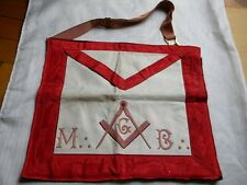 ANTIQUE MASONIC APRON EMBROIDERED RED WHITE TEMPLAR BLACK SKULL CROSSBONES