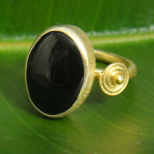 Handmade Ancient Turkish Jewelry Large Onyx Ring Gold Over Sterling Silver