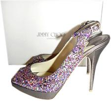 Jimmy Choo 'Clue Glitter Multi Color Slingback Pump Platform Sandal 38 Shoe 7.5