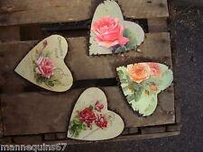 4 COEURS METAL  FLEURS DECORATION MAISON CADEAU MARIAGE