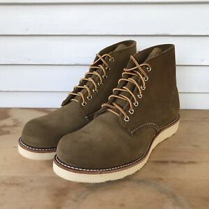 """Red Wing Shoes 6"""" Round Toe 8824 Mens Sz 7.5D Olive Mohave Roughout Leather 1sts"""