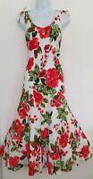 Womens Per Una White Red Floral Tie Shoulders Bias Flippy Midi Slip Dress 8L Vgc