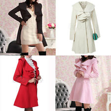 Women's Ruffle Falbala Warm Blend Jacket Long Coat Outwear Overcoat Parkas