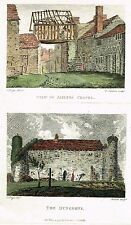 "Aikin's - ""JAILER'S CHAPEL VIEW & DUNGEONS"" - Hand Col'd Copper Engraving - 1795"