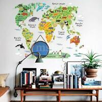 Animal World Map Removable Vinyl Wall Sticker  Decal School Office Home Decor