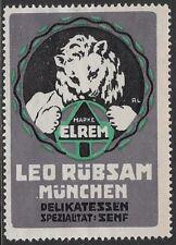 German Cinderella: 1920 ELREM Leo Rübsam Munich Deli Specialty: Mustard- cw47.24