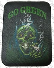 LEATHER PATCH GO GREEN POTHEAD SKULL STONER REEFER 420 MOTORCYCLE BIKER VEST