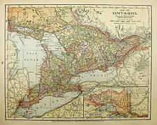 1900 ANTIQUE  ONTARIO color state map original authentic