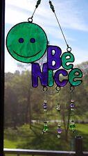BE NICE happy suncatcher green & purple garden mobile window ornament SHIPS FREE