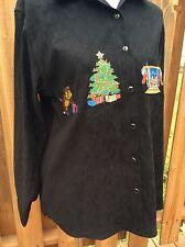 Vintage 90's Christmas Ugly Shirt Bill Blass Jeans Ladies Woman's Size M Blouse